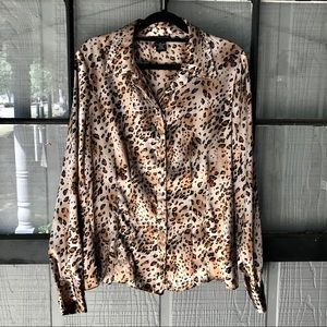 Rafaella button front, animal print blouse